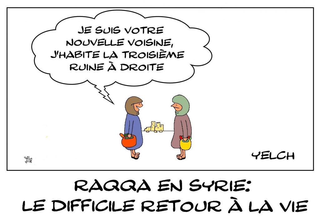 dessins humour Syrie Raqqa image drôle reconstruction