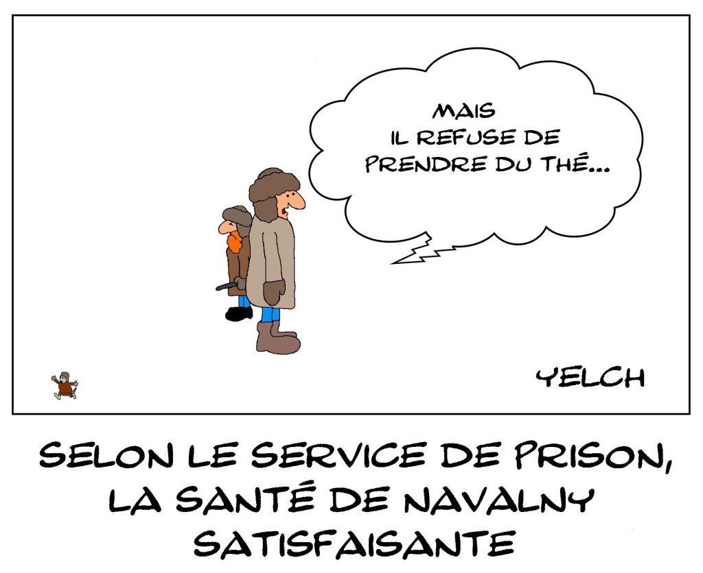 dessins humour Alexeï Navalny image drôle prison santé thé