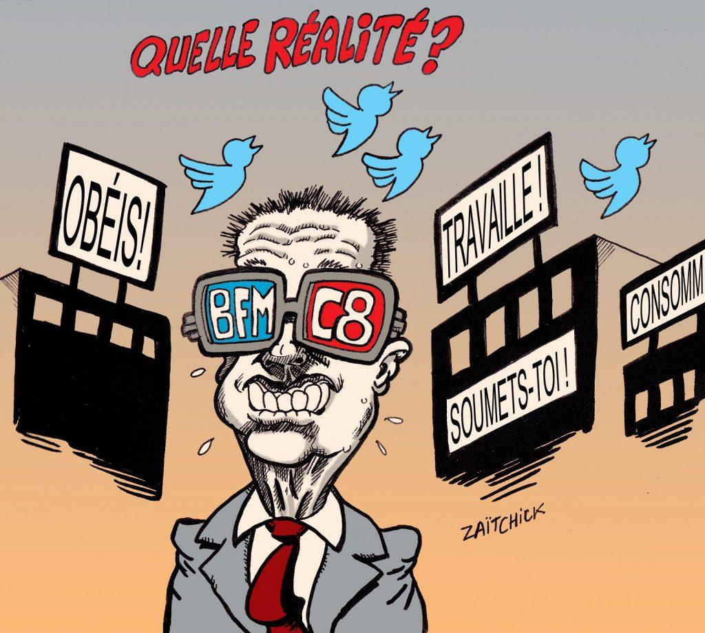 dessin presse humour médias BFMTV C8 image drôle propagande réseaux sociaux