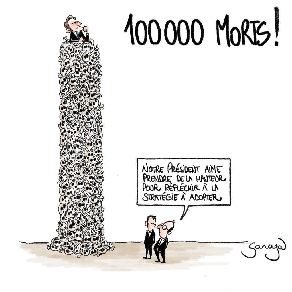 dessin presse humour coronavirus covid-19 image drôle Emmanuel Macron morts victimes