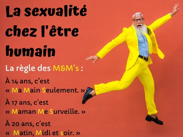 blague sexe, blague sexualité, blague M&M's, blague être humain, blague âge, blague hommes, humour