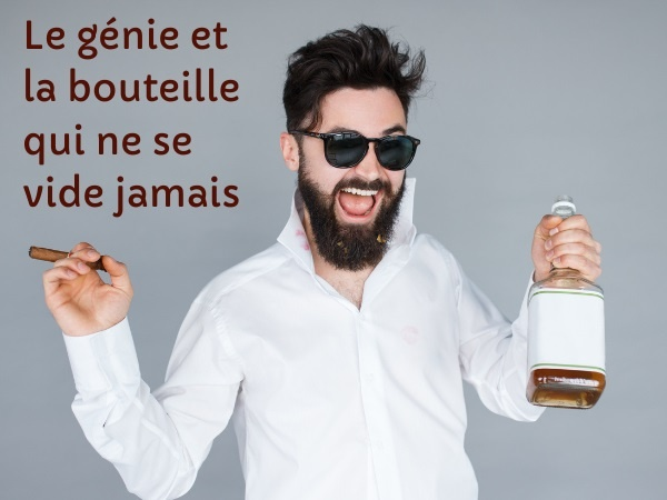 blague génie, blague alcool, blague bouteille, blague vœu, blague lampe magique, blague whisky, humour