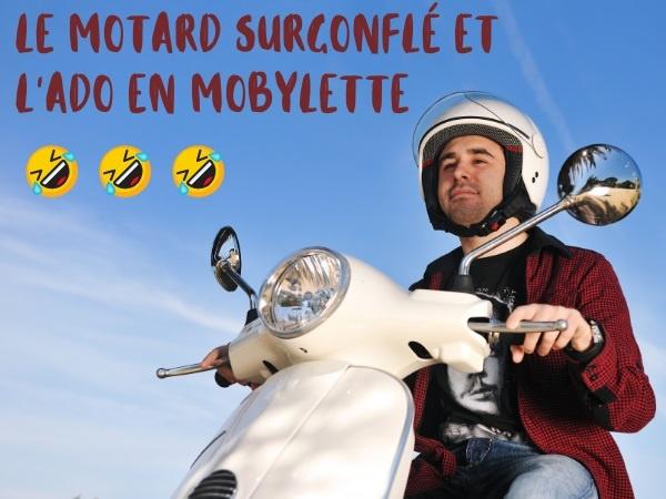 blague motard, blague moto, blague mobylette, blague vitesse, blague accident, blague casque, humour
