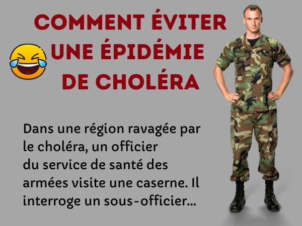 blague épidémie, blague choléra, blague eau potable, blague armée, blague précaution, blague bière, humour