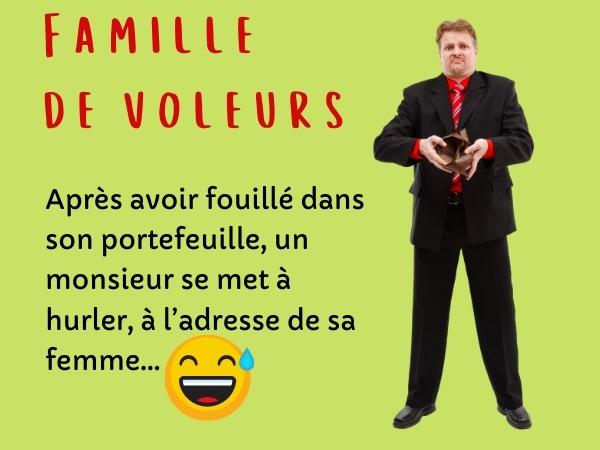 humour, blague sur les portefeuilles, blague sur les couples, blague sur l'argent, blague sur les accusations, blague sur les familles, blague sur les vols
