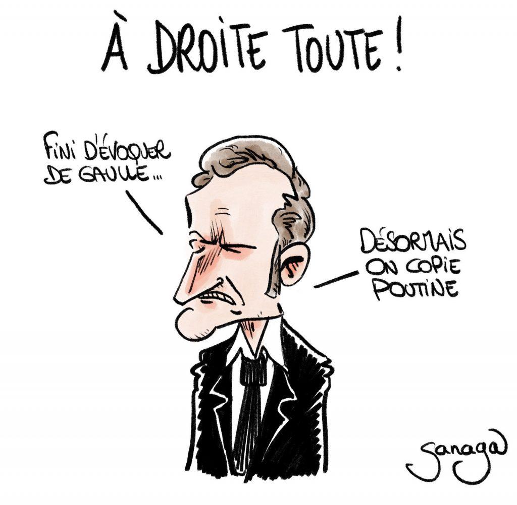 dessin presse humour Emmanuel Macron image drôle droite copie Poutine