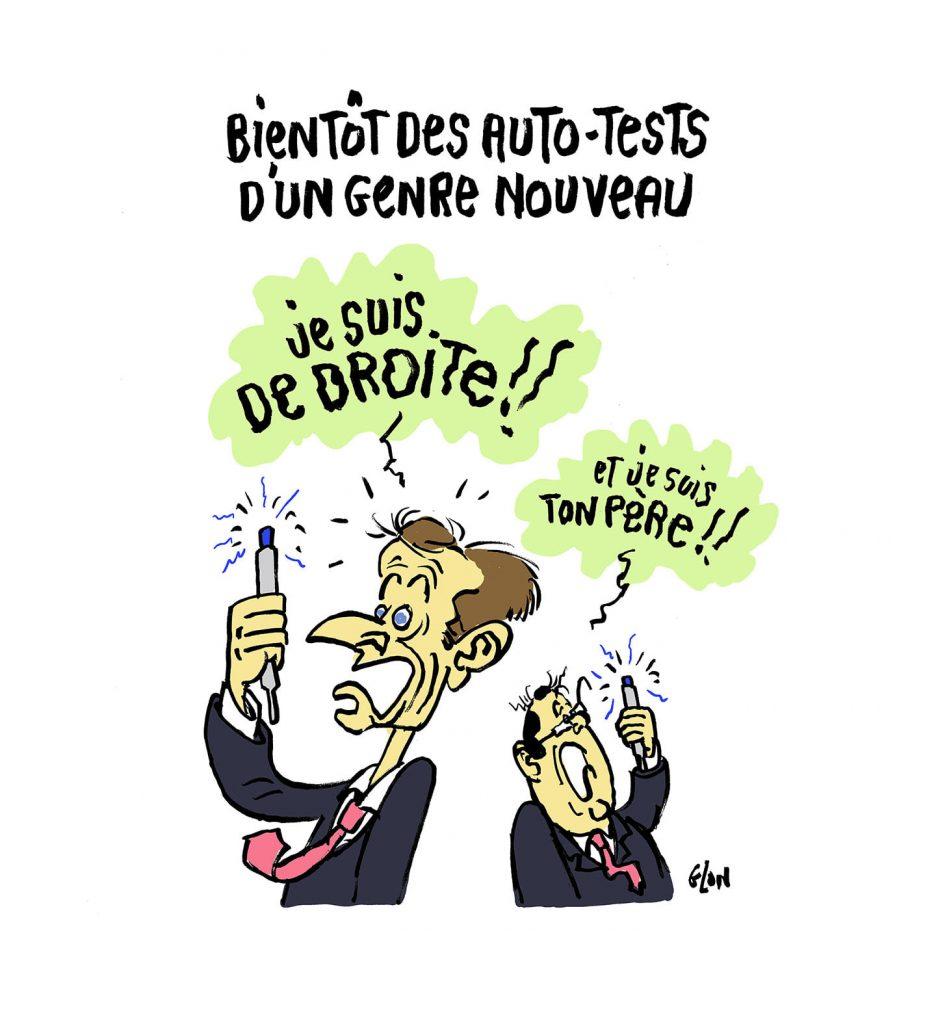 dessin presse humour coronavirus Emmanuel Macron image drôle François Hollande autotests