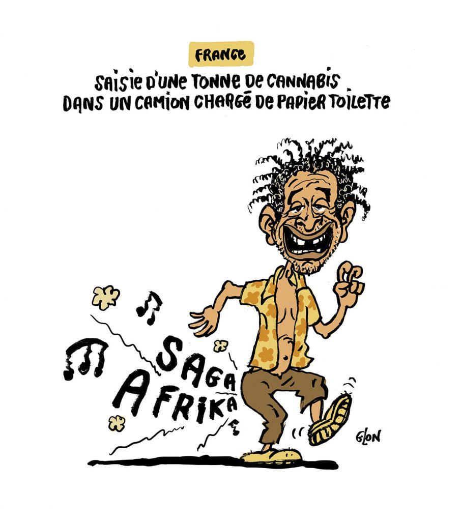 dessin presse humour saisie cannabis papier toilette image drôle Yannick Noah drogue