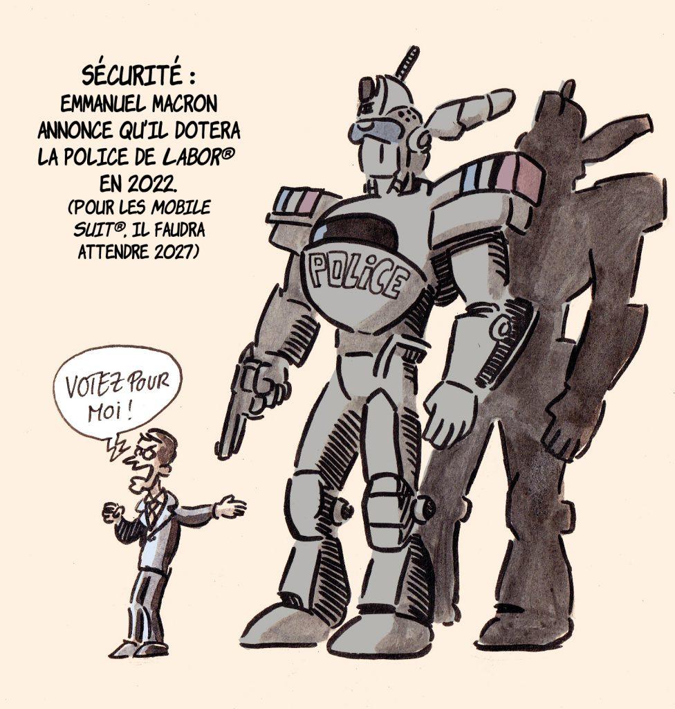 dessin presse humour Emmanuel Macron sécurité image drôle Patlabor dotation police
