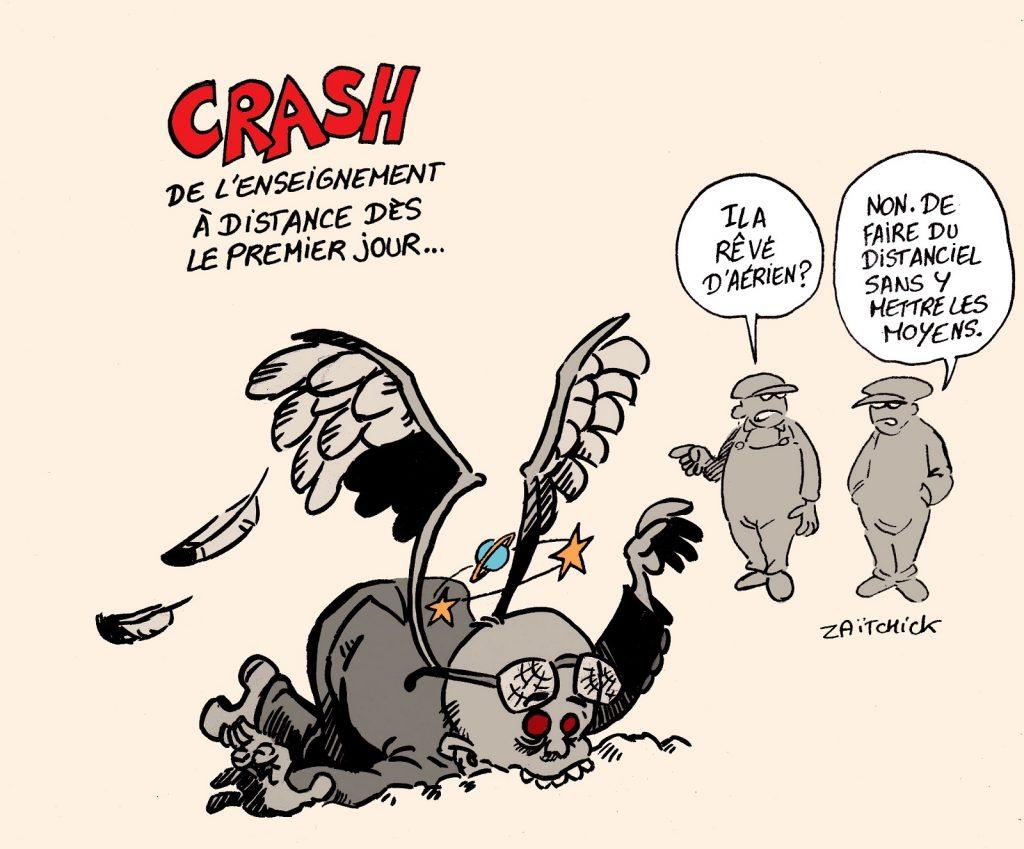 dessin presse humour Jean-Michel Blanquer image drôle Éducation Nationale crash aérien