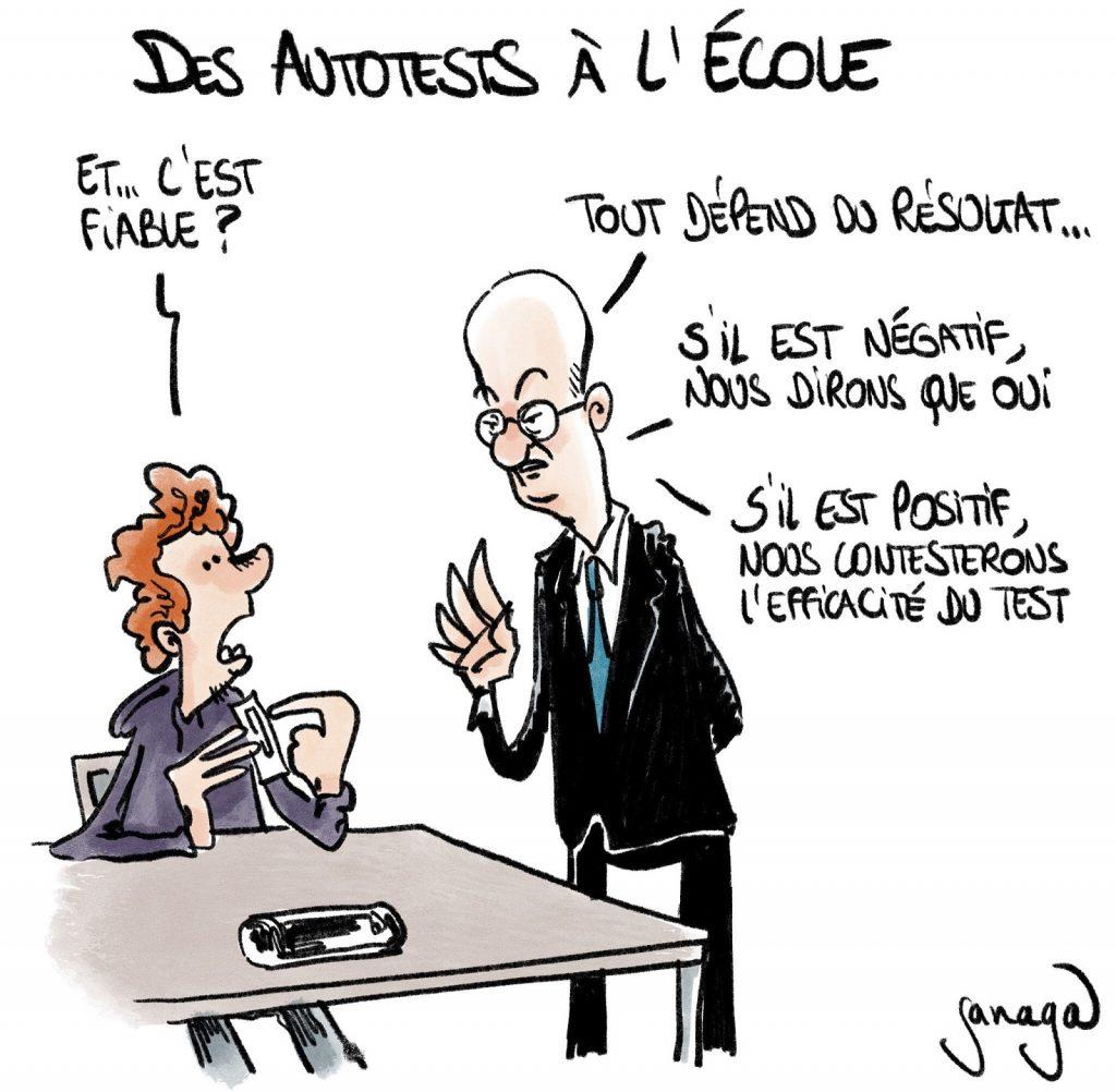 dessin presse humour coronavirus covid19 image drôle Jean-Michel Blanquer autotests école