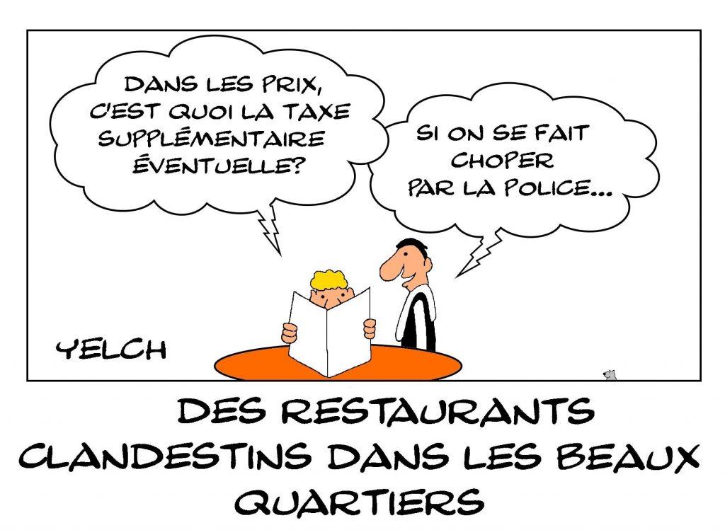 dessins humour restaurant clandestin riches image drôle Pierre-Jean Chalençon