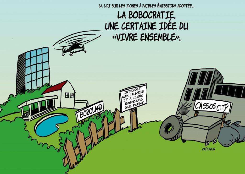 dessin presse humour écologie EELV image drôle ZFE ségrégation bobos boboland