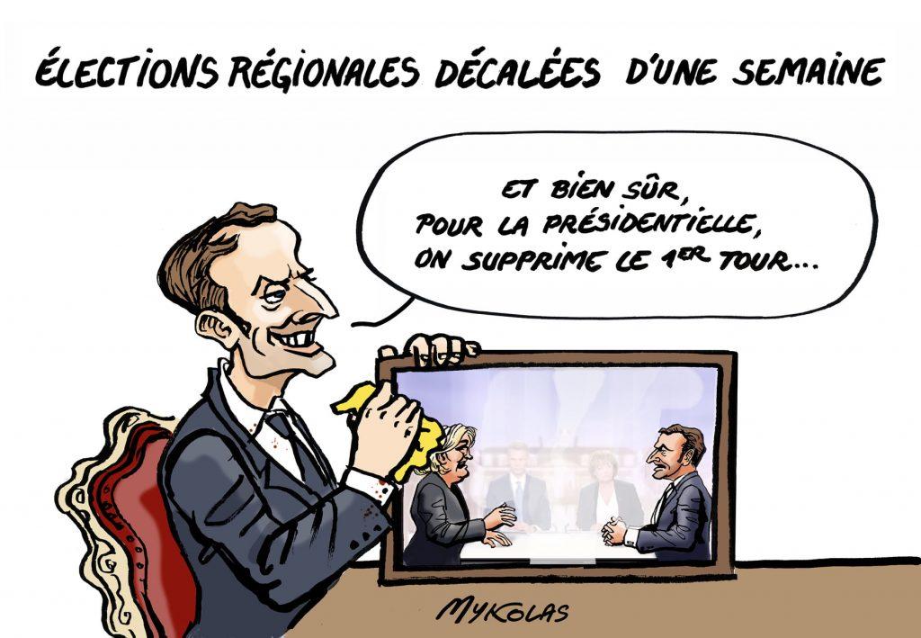 image drôle Emmanuel Macron présidentielle dessins humour report élections régionales