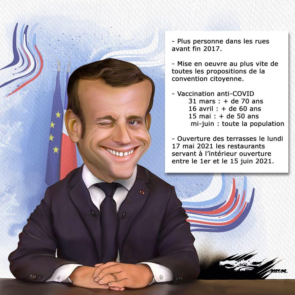 dessin presse humour Emmanuel Macron image drôle promesses mensonges déclarations