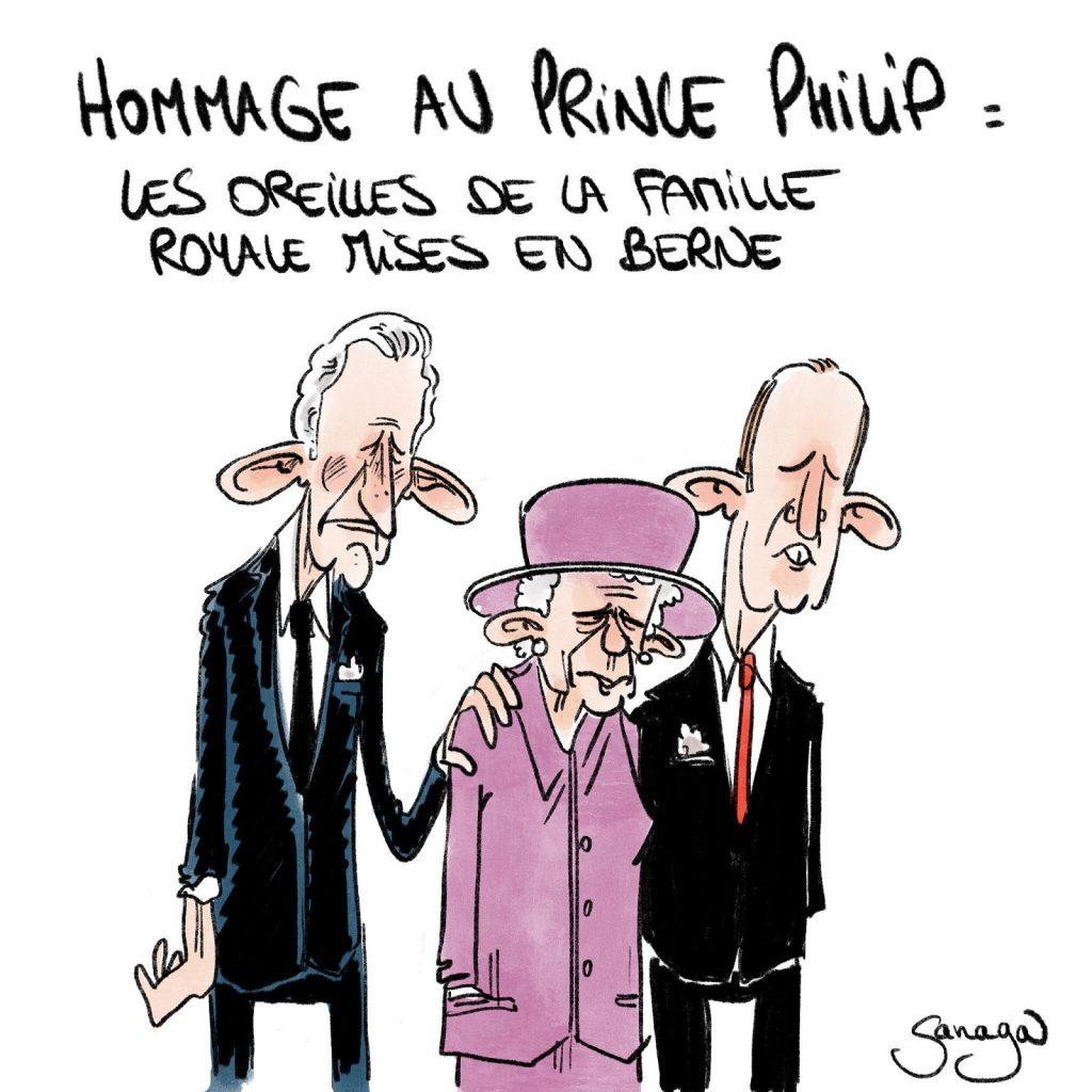 dessin presse humour Royaume-Uni Angleterre image drôle mort du Prince Philip