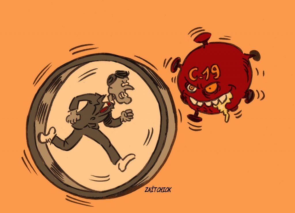 dessin presse humour coronavirus covid-19 image drôle épidémie Emmanuel Macron