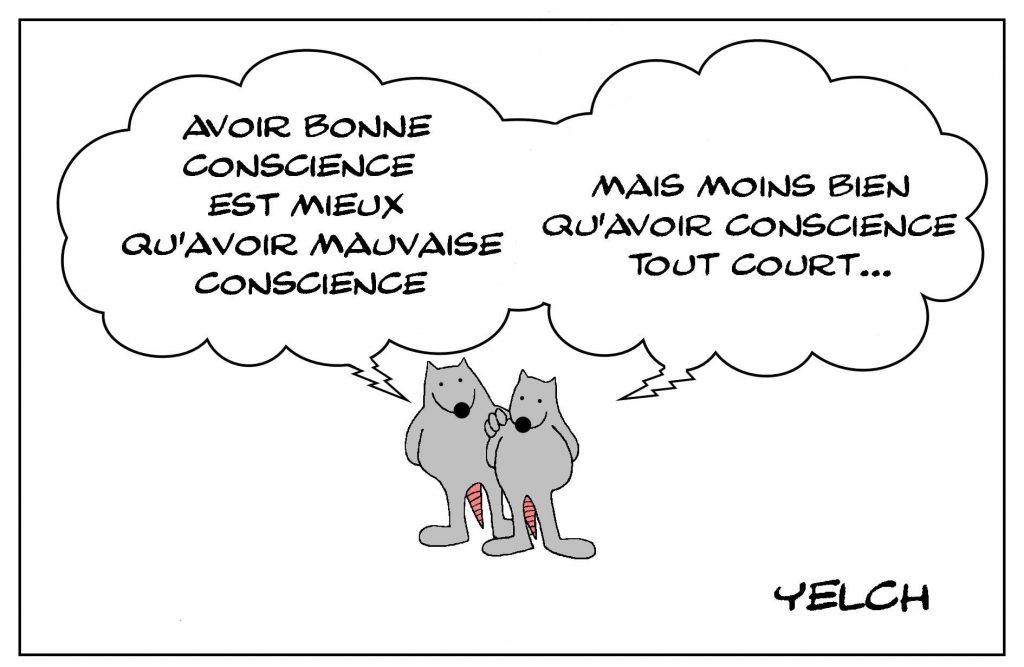 dessins humour bonne conscience image drôle mauvaise conscience