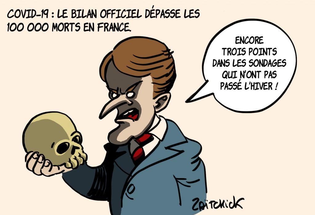 dessin presse humour coronavirus covid-19 image drôle morts victimes Emmanuel Macron sondages