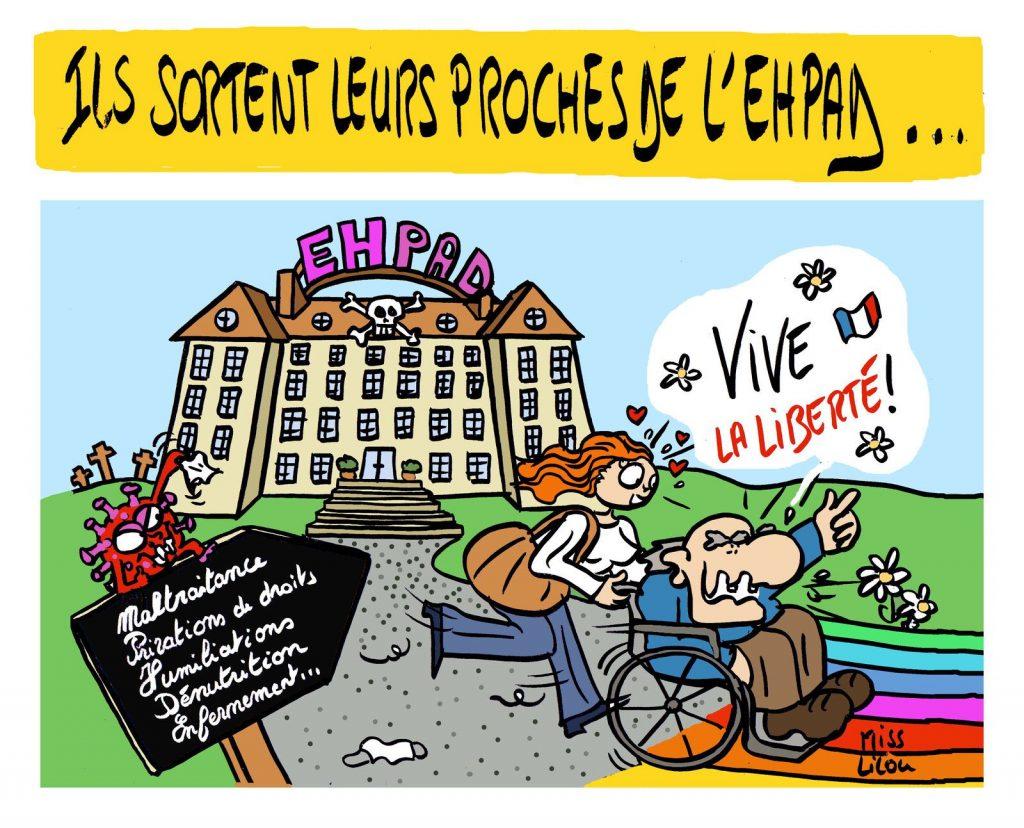 dessin presse humour coronavirus covid-19 image drôle Ehpad maison de retraites