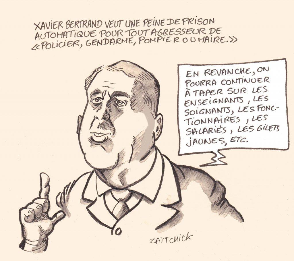 dessin presse humour violence Xavier Bertrand image drôle peine prison automatique agresseurs