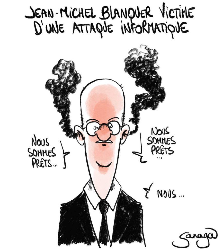 dessin presse humour Jean-Michel Blanquer image drôle Éducation Nationale attaque informatique