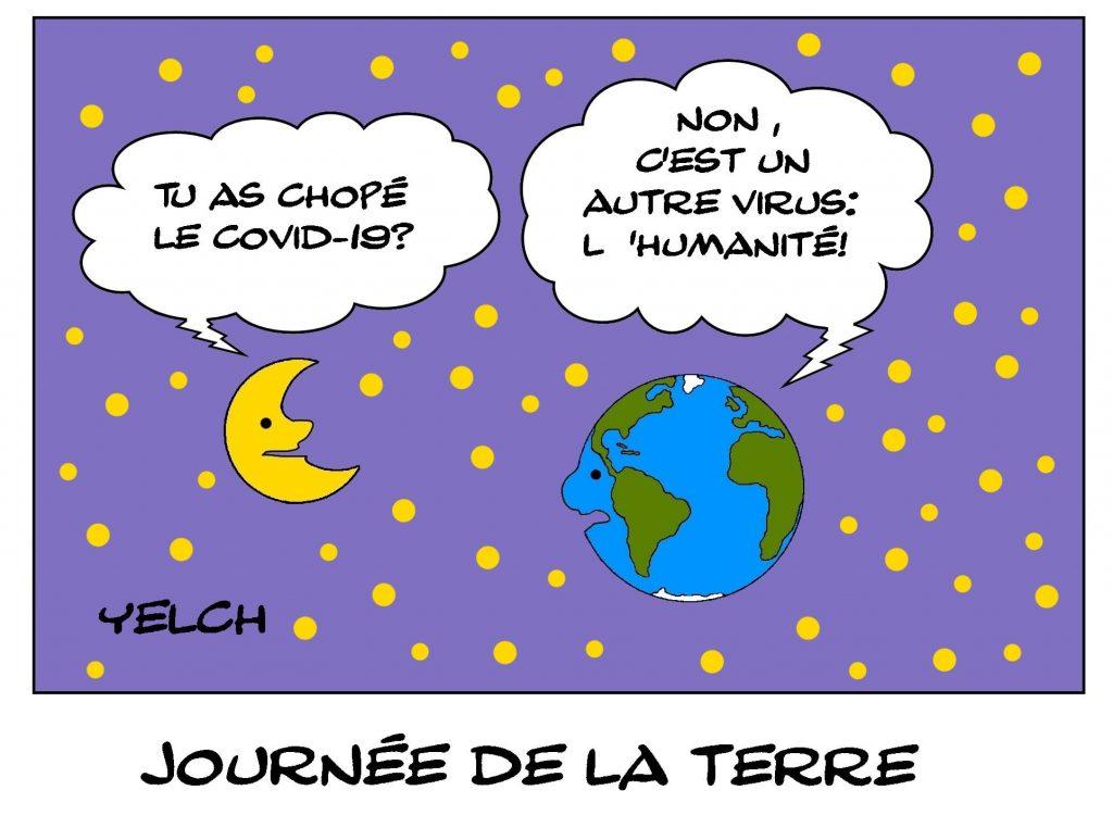 dessins humour journée de la terre image drôle coronavirus humanité