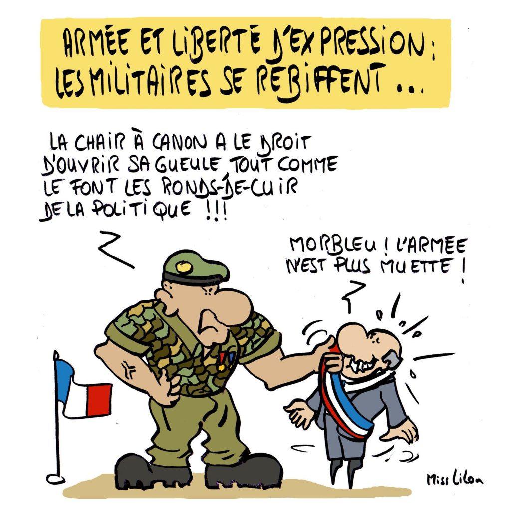 dessin presse humour tribune généraux Valeurs Actuelles image drôle retraités insécurité grande muette