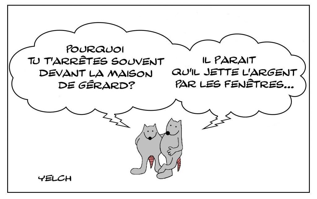 dessins humour expression française image drôle jeter argent fenêtre