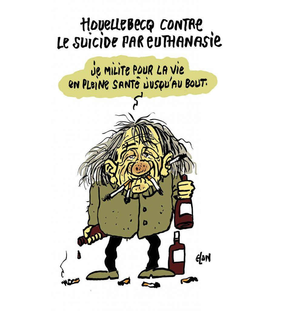 dessin presse humour Michel Houellebecq image drôle suicide par euthanasie
