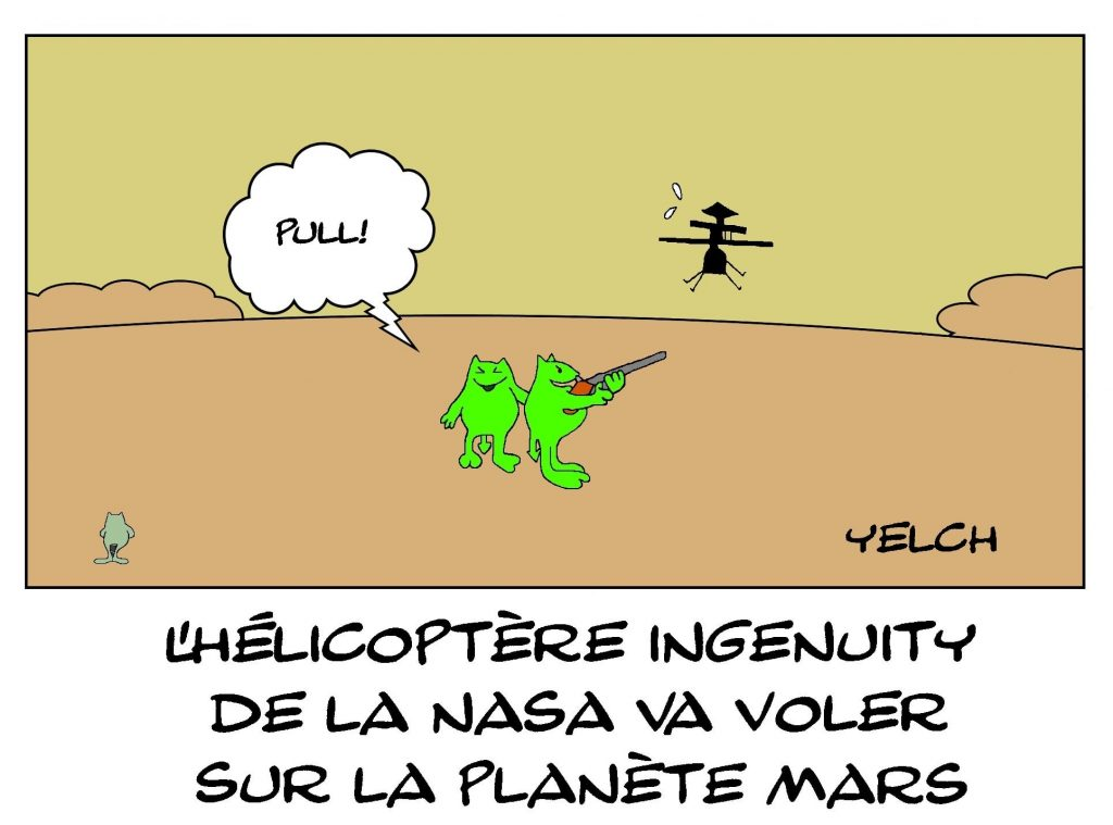 dessins humour Mars Perseverance image drôle hélicoptère Ingenuity