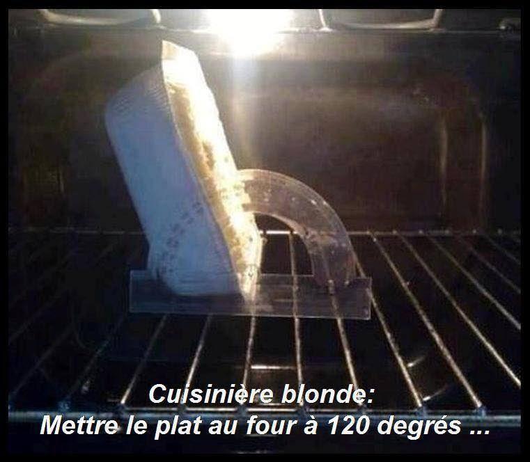 dessin humour blondes cuisinière image drôle plat four angle degrés