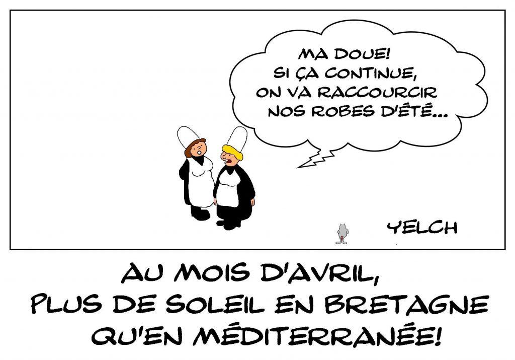 dessins humour mois avril Bretagne soleil image drôle Méditerranée ensoleillement