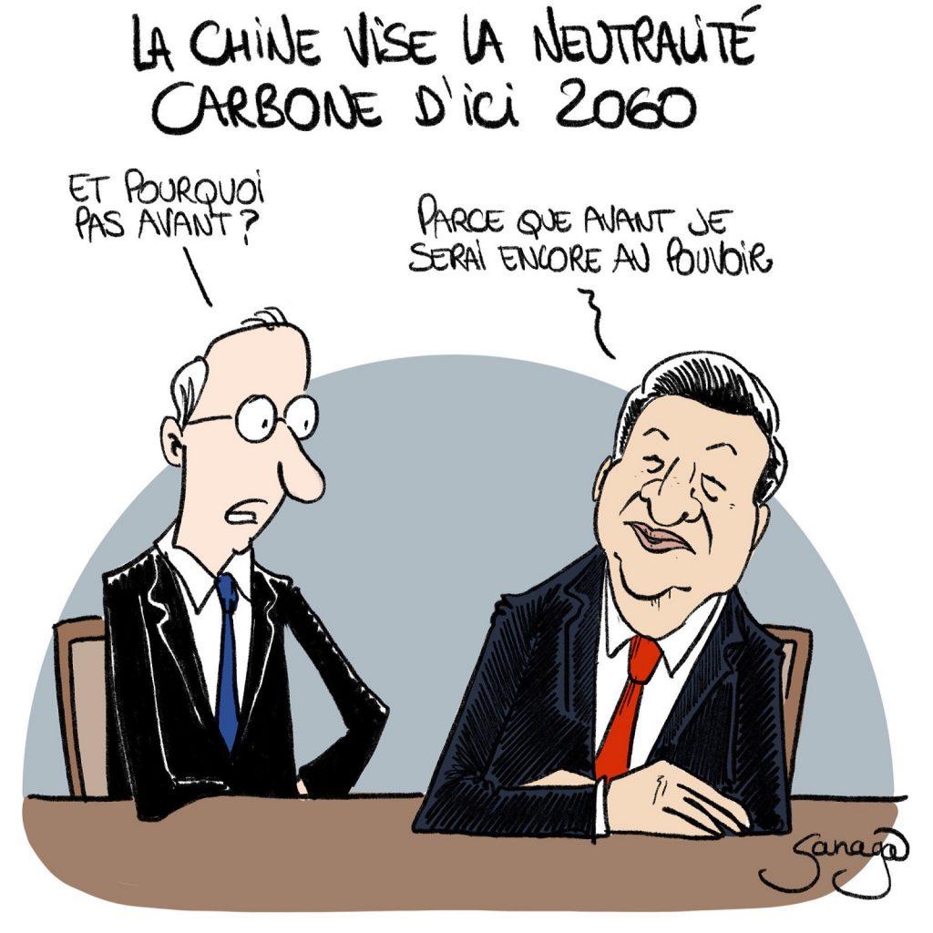 dessin presse humour Chine neutralité carbone image drôle Xi Jinping pouvoir