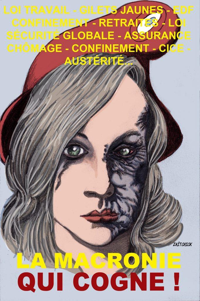 dessin presse humour Emmanuel Macron sécurité image drôle plus de bleu violences policières