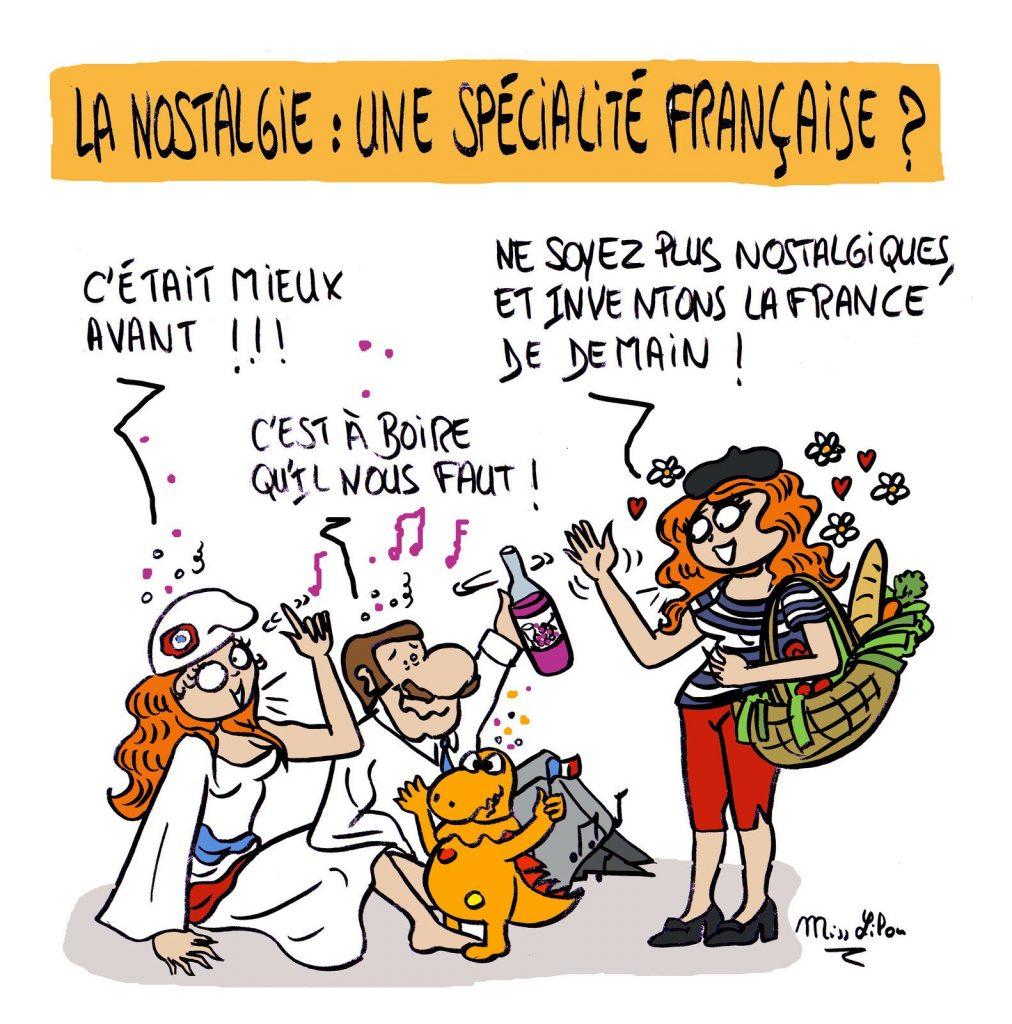 dessin presse humour France de demain image drôle nostalgie passé