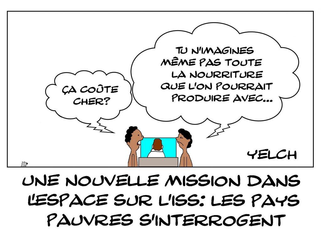 dessins humour pays pauvres nourriture coût image drôle Thomas Pesquet mission spatiale ISS