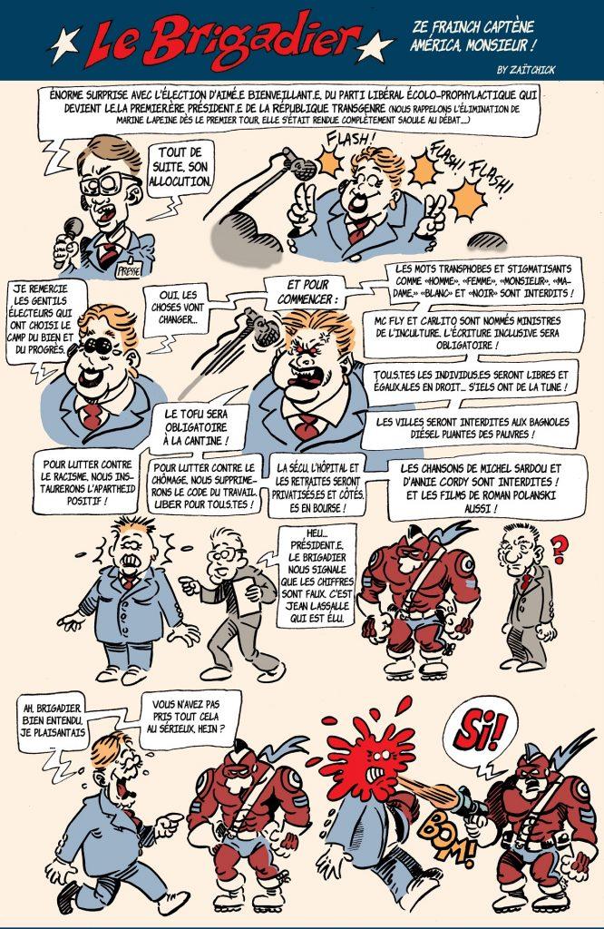 image drôle Le Brigadier dessin humour élection présidentielle 2022 camp du bien