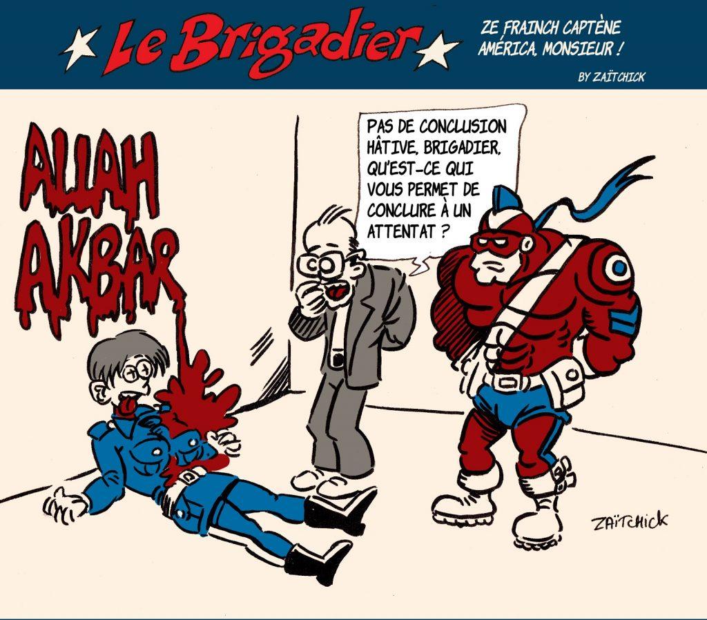 image drôle Le Brigadier dessin humour France attentat terroriste islamiste Rambouillet attaque couteau Jean Castex