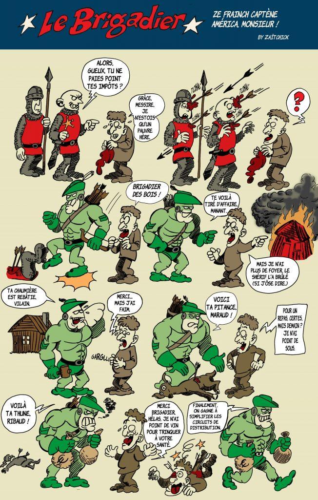 image drôle Le Brigadier dessin humour Robin des Bois justice sociale
