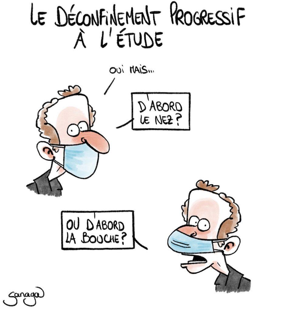 dessin presse humour coronavirus covid-19 image drôle port du masque déconfinement progressif