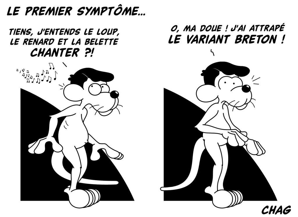 dessin humoristique coronavirus confinement image drôle symptôme variant breton