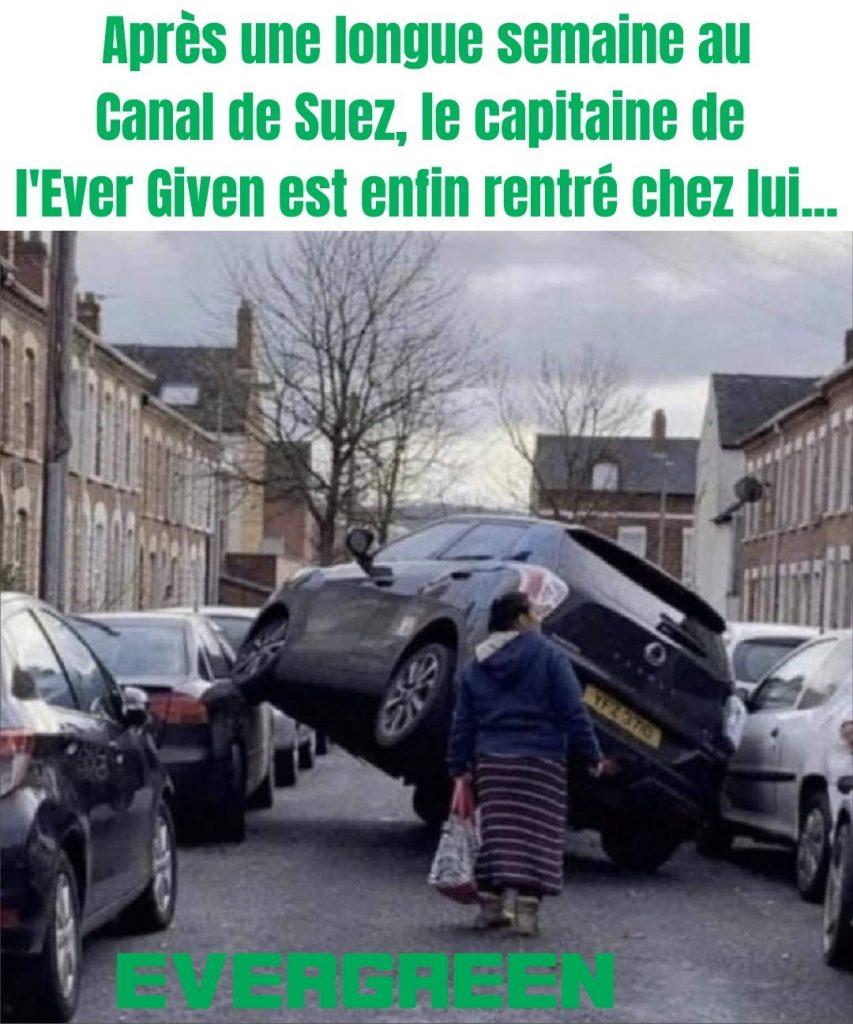 dessin humour Evergreen Canal de Suez image drôle capitaine Ever Given