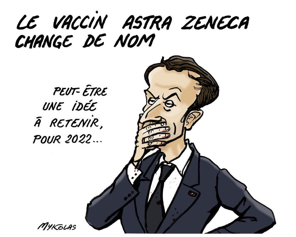 image drôle coronavirus covid19 dessins humour Emmanuel Macron AstraZeneca Vaxzevria