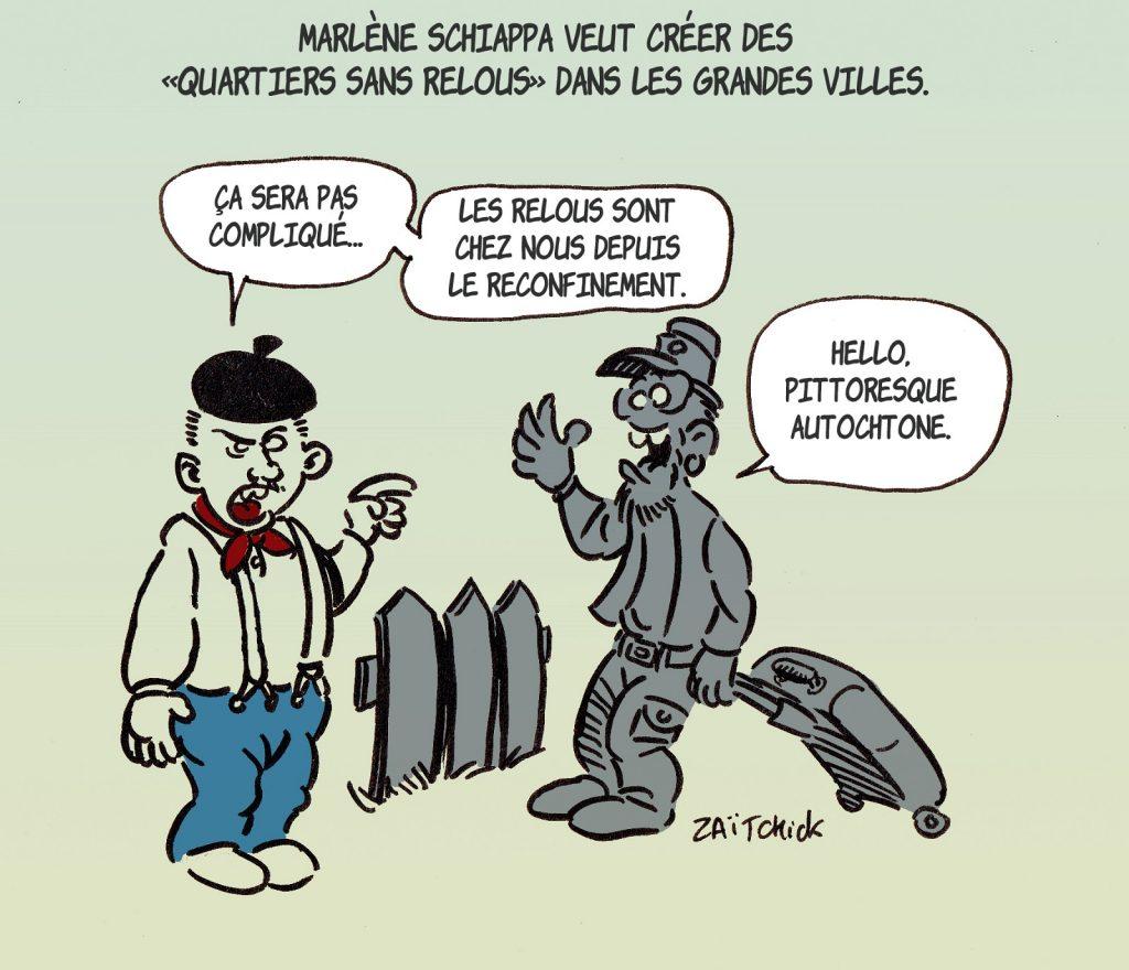 dessin presse humour coronavirus covid-19 exode image drôle Marlène Schiappa QSR quartiers sans relous