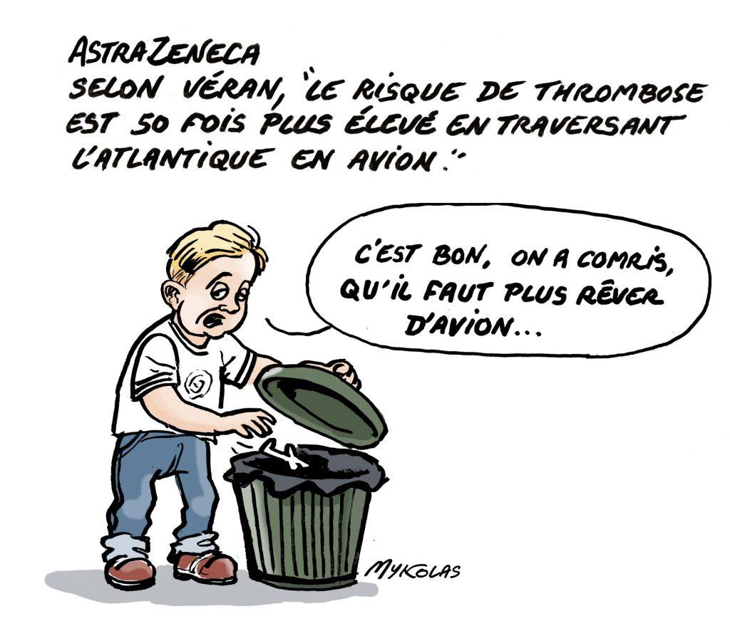 image drôle Olivier Véran coronavirus dessins humour AstraZeneca thrombose rêve avion