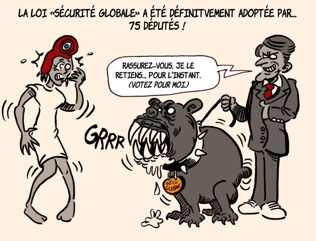 dessin presse humour loi sécurité globale image drôle Emmanuel Macron