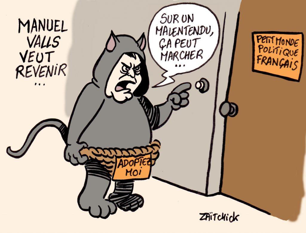 dessin presse humour retour Manuel Valls image drôle opportuniste politique