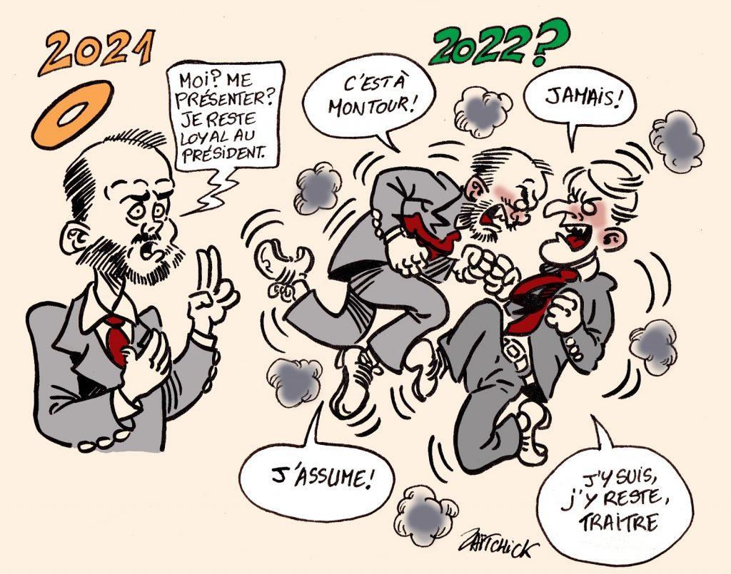 dessin presse humour Édouard Philippe Emmanuel Macron image drôle élection présidentielle 2022