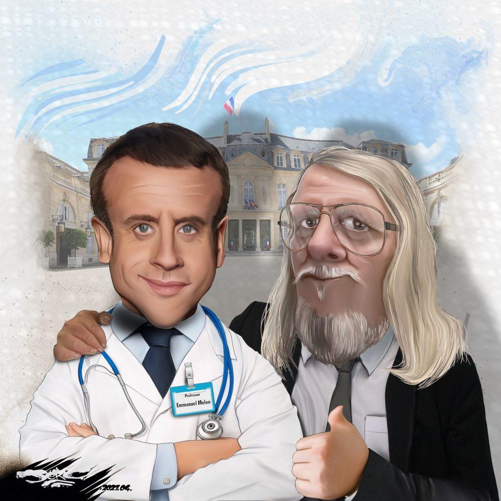 dessin presse humour Emmanuel Macron épidémiologiste image drôle Didier Raoult melon